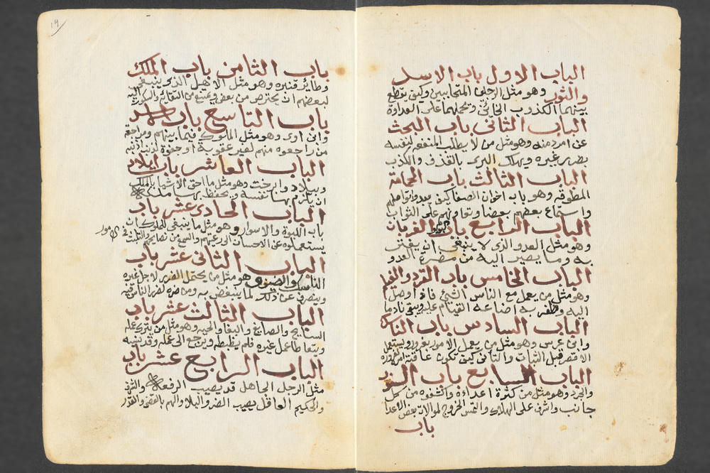 """Kalila and Dimna"" is a widely known collection of Arabic fables. This is the list of contents of the edition by Ibn al-Muqaffa' copied in 1830 by Ahmad al-Rabbat who owned a lending library of popular Arabic literature."