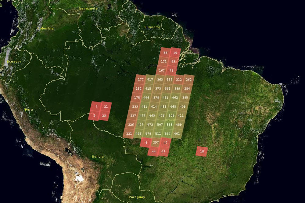 "Fields of activity of the project in Brazil. Each box corresponds to an area of 200 x 200 km – the recording's so-called ""footprint."" The figures provide information about Landsat satellite data per footprint (green=a lot of data; red=little data)"