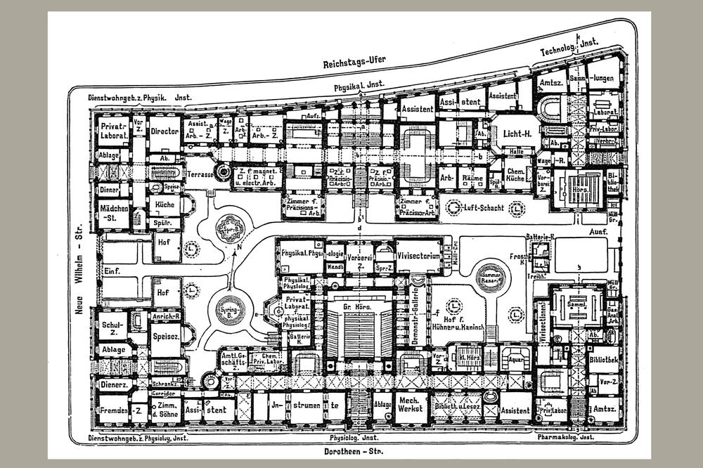 The floor plan of the building complex for the natural sciences shows which institutes were located between Reichstags-Ufer und Dorotheenstraße.