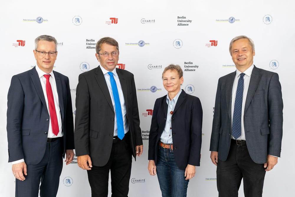 Leaders of the Berlin University Alliance: Günter M. Ziegler, President of Freie Universität, Heyo K. Kroemer, Chief Executive Officer of Charité, Sabine Kunst, President of Humboldt-Universität, Christian Thomsen, President of Technische Universität